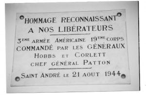 Commemorative plaque at the airfield of St André of the Eure